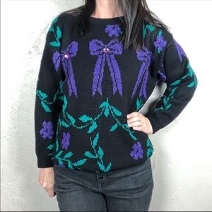 Vintage Chunky Knit Graphic Sweater Bows & Flowers